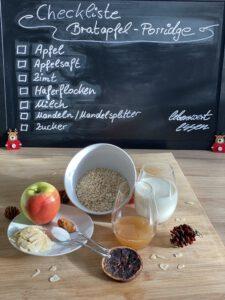 Zutaten-Checkliste für ein Bratapfel-Porridge