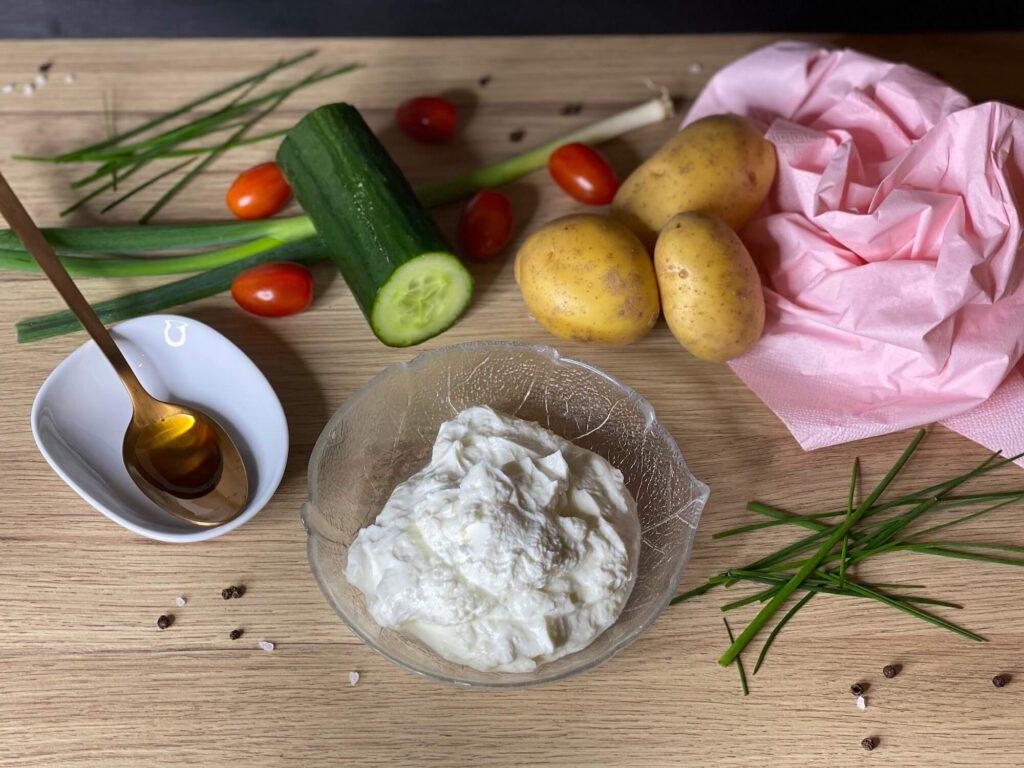 Zutaten Kartoffeln, Quark, Frühlingszwiebeln